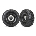 "Traxxas tires and wheels, assembled (Method 105 black chrome beadlock wheels, Canyon Trail 2.2"" tires, foam inserts) (1 left, 1 right)"