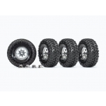 """Tires and wheels, assembled, glued (1.9"""" classic chrome wheels, Canyon Trail 4.6x1.9"""" tires) (4)/ center caps (4) (requires #8255A extended stub axle)"""