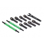 Toe links, E-Revo VXL (TUBES green-anodized, 7075-T6 aluminum, stronger than titanium) (144mm) (2)