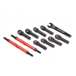 Toe links, E-Revo VXL (TUBES red-anodized, 7075-T6 aluminum, stronger than titanium) (144mm) (2)