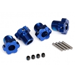 Wheel hubs, splined, 17mm (blue-anodized) (4)