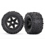 Traxxas Tires & wheels, assembled, glued (black wheels, Talon EXT tires, foam inserts) (2) (17mm splined) (TSM rated)