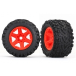 Traxxas Tires & wheels, assembled, glued (red wheels, Talon EXT tires, foam inserts) (2) (17mm splined) (TSM rated)