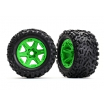 Traxxas Tires & wheels, assembled, glued (green wheels, Talon EXT tires, foam inserts) (2) (17mm splined) (TSM rated)