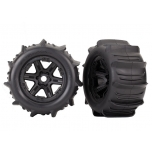 "Traxxas Tires & wheels, assembled, glued (black 3.8"" wheels, paddle tires, foam inserts) (2) (TSM rated)"