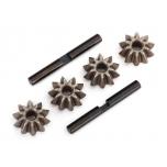Gear set, differential (spider gears (4), spider gear shaft (2))