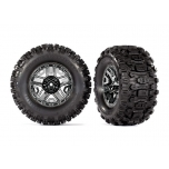"Traxxas Tires & wheels, assembled, glued (black chrome 2.8"" wheels, Sledgehammer™ tires, foam inserts) (2) (TSM® rated)"